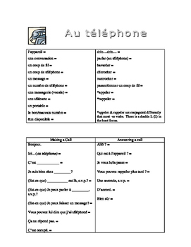 D'Accord 2 Unit 5A : handout on telephone vocabulary