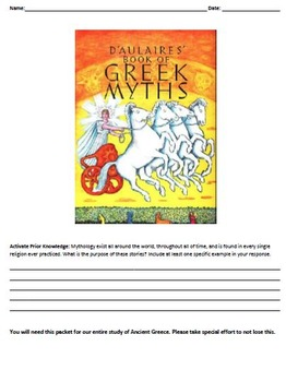 D'Aulaires' Book of Greek Myths Social Studies and ELA Connections