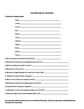 D'Aularies Test Greek Creation Story Study Guide