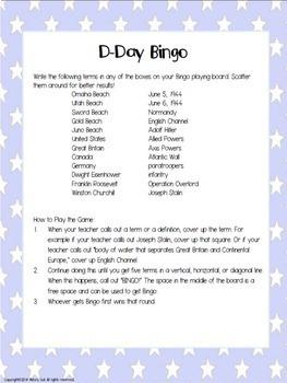 World War II (WWII) D-Day Bingo {Freebie!}