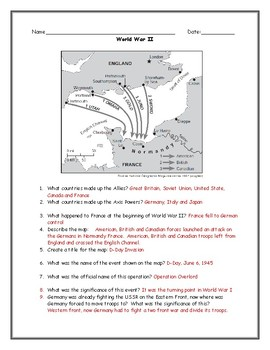 D-Day Map Worksheet with Answer Key
