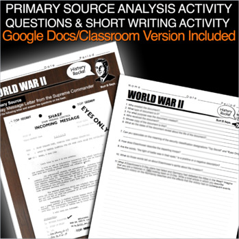 D-Day Secret File Primary Source Activity for World War 2 (WWII)