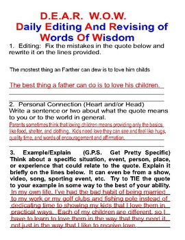 D.E.A.R. W.O.W.  (Daily Editing And Revising of Words of Wisdom