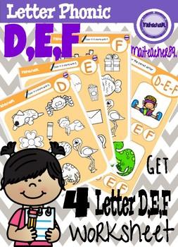 D,E,F Letter Recognition Worksheets