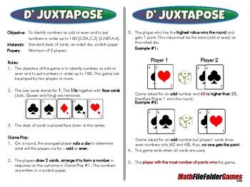 D' Juxtapose - 2nd Grade Math Game [CCSS 2.OA.C.3] [CCSS 2.NBT.A.4].