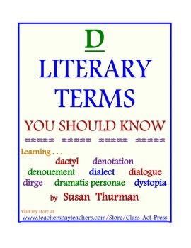 """""""D"""" Literary Terms You Should Know (5 Pages, Answer Key Included, $3)"""