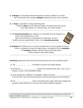 Literary Devices You Should Know: Terms Beginning with D (5 P., Answer Key Inc.)