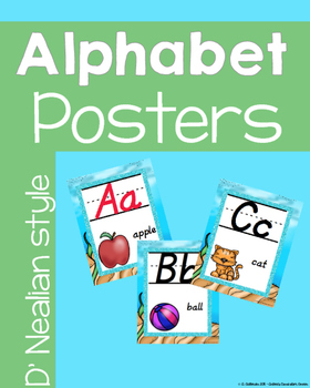 D'NEALIAN Beach theme with Glitter ALPHABET POSTERS with words