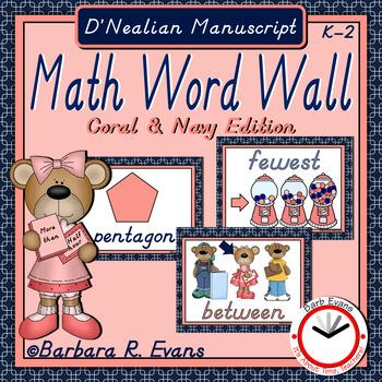 D'NEALIAN MANUSCRIPT MATH WORD WALL: Coral & Navy Edition