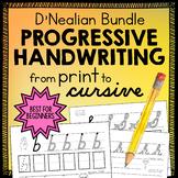 D'NEALIAN Handwriting Practice Sheets cursive, print, numbers Progressive BUNDLE
