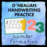 D'NEALIAN style handwriting practice sheets - NUMBER FORMATION - writing numbers
