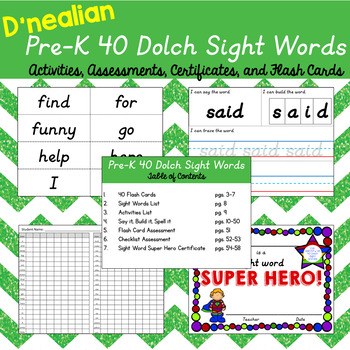 D'Nealian 40 Preschool Dolch Sight Words Pack