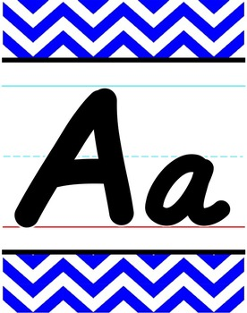 D'Nealian Alphabet Line - Blue & White Chevron