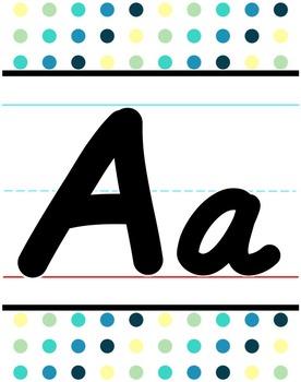 D'Nealian Alphabet Line - Cool Shades Polka Dot