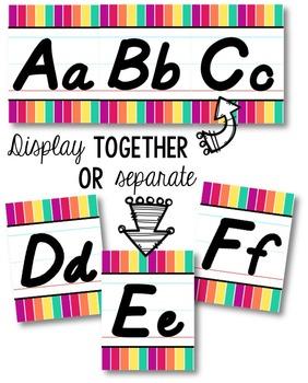 D'Nealian Alphabet Line - Funky Rainbow Vertical Stripes