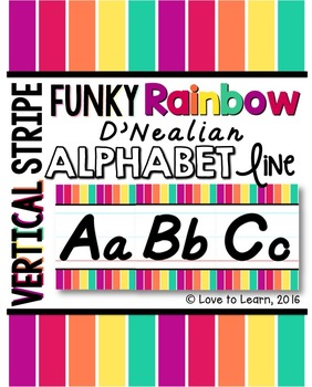 D'Nealian Alphabet Line - Funky Rainbow Vertical Stripes