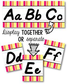 D'Nealian Alphabet Line - Pink, Orange & Yellow Vertical Stripes