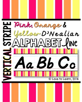 D'Nealian Alphabet Line - Pink, Orange & Yellow Vertical Stripes