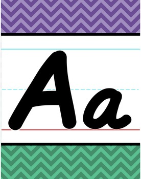 D'Nealian Alphabet Line - Purple & Turquoise Chevron