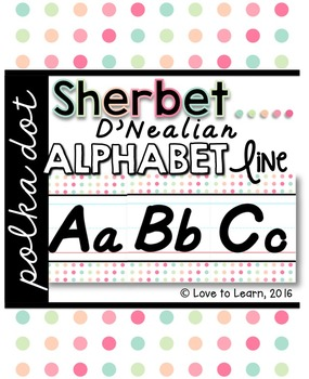 D'Nealian Alphabet Line - Sherbet Polka Dot