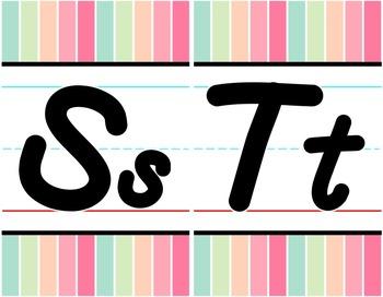 D'Nealian Alphabet Line - Sherbet Vertical Stripes