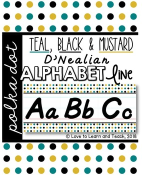 D'Nealian Alphabet Line - Teal, Black & Mustard Polka Dot