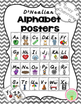 D'Nealian Alphabet Poster Set Gray Chevron