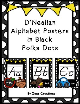 D'Nealian Alphabet Poster Set in Black Polka Dot Frame and Colorful Pictures