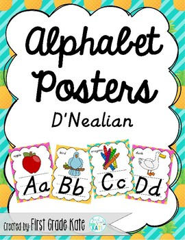 Pineapple D'Nealian Alphabet Posters for Classroom Decor