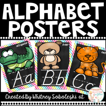 D'Nealian Alphabet Posters with a Rainbow and Chalk Theme