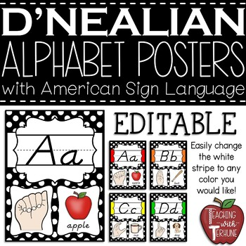 D'Nealian Alphabet Strip with American Sign Language {Polka Dot and Red}