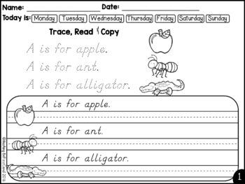 D'Nealian August Handwriting Practice