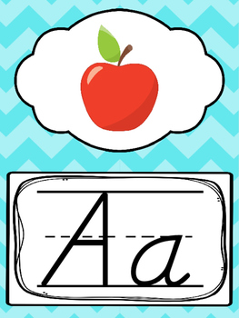 D'Nealian Blue, Green, Pink, Orange Alphabet Posters. Preschool-2nd Grade
