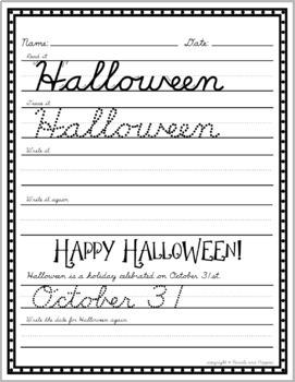 D'Nealian CURSIVE HALLOWEEN handwriting practice fall cursive practice pumpkins