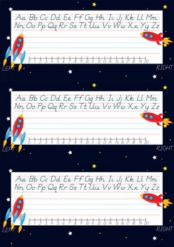 D'Nealian Font Space Theme Name Plates