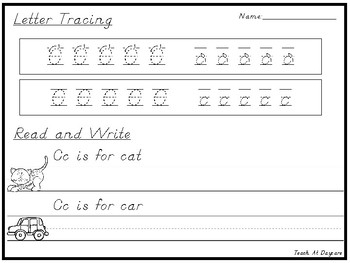 D'Nealian Handwriting. Letter Tracing and Read and Write Worksheets.