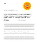D'Nealian Handwriting Practice (Famous Quote)