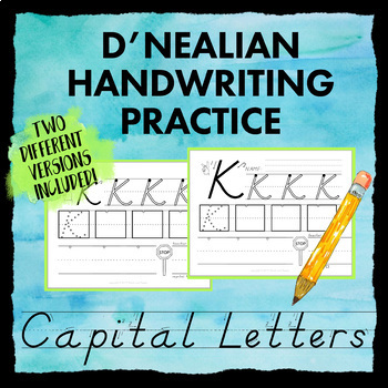 d 39 nealian handwriting practice worksheets capital letter dnealian print style. Black Bedroom Furniture Sets. Home Design Ideas