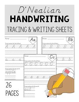 D'Nealian Handwriting Tracing & Writing Sheets