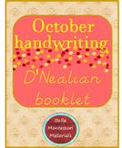 D'Nealian/ Italic  Writing - October Words  Booklet