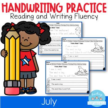 D'Nealian July Handwriting Practice