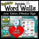 D'Nealian June Word Walls: Ocean, Rainforest, Water Safety, Father's Day, Summer