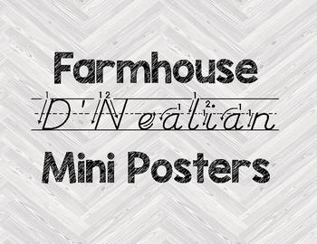 D'Nealian Letter Cards ~ Farmhouse Gray