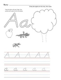 D'Nealian Letter Trace Practice Page - Aa through Mm