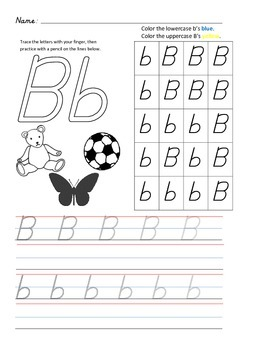 D'Nealian Letter Trace Practice Page - Bb
