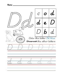 D'Nealian Letter Trace Practice Page - Dd