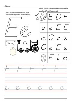 D'Nealian Letter Trace Practice Page - Ee