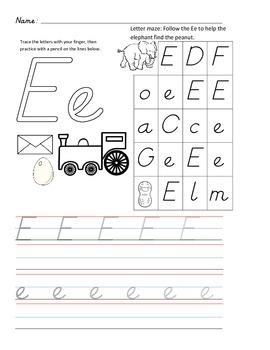 D'Nealian Letter Trace Practice Page - Ee