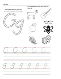 D'Nealian Letter Trace Practice Page - Gg