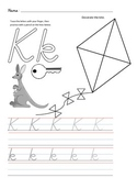 D'Nealian Letter Trace Practice Page - Kk